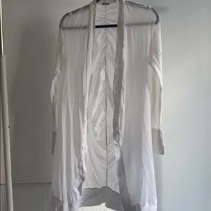 Monrow white open duster with ruching in the back
